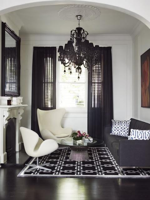 decoração em preto e branco