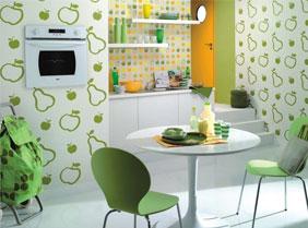 decoração cozinha com papel de parede