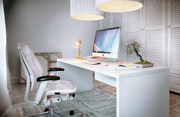 Charme da decoração de escritório branco