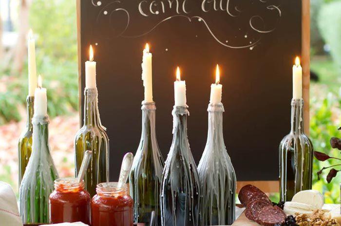 garrafas de vidro na decoração