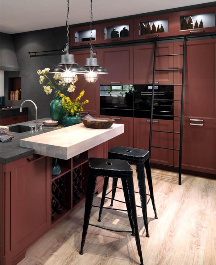 cozinha cinza com vinho