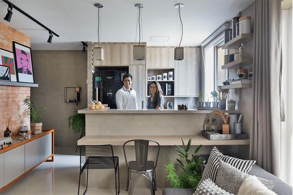 bancada pequena cozinha integrada