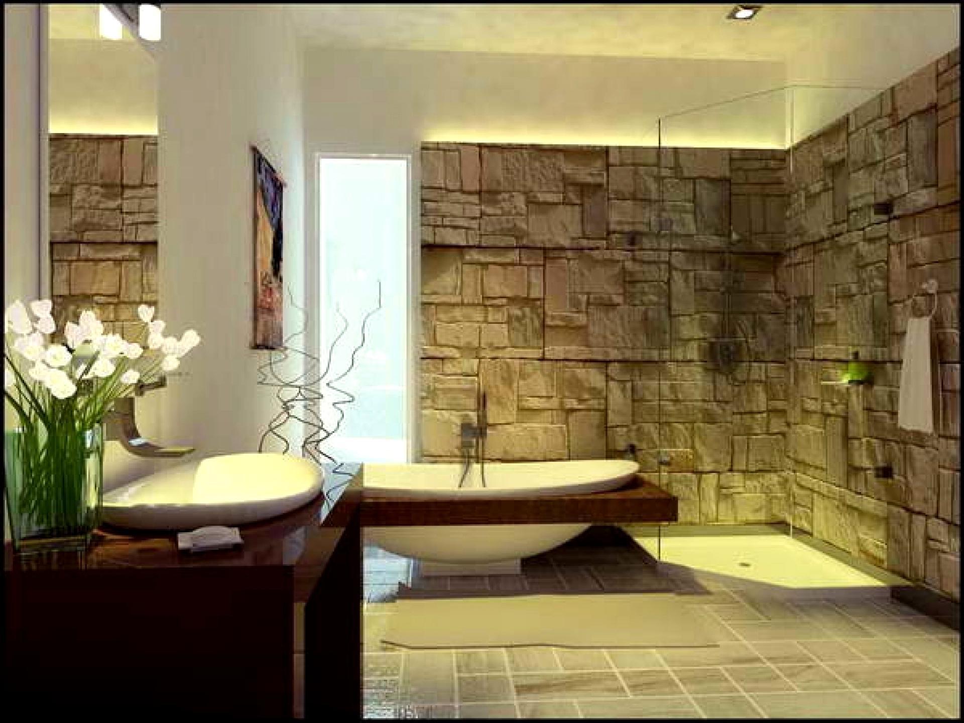 Banheiro Moderno com Revestimento em Pedra