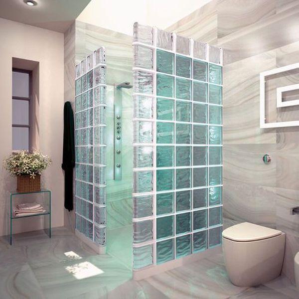 box de chuveiro de bloco de vidro