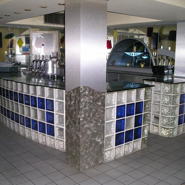 balcão de cozinha de bloco de vidro