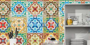 destaque do ladrilho hidráulico em cozinha