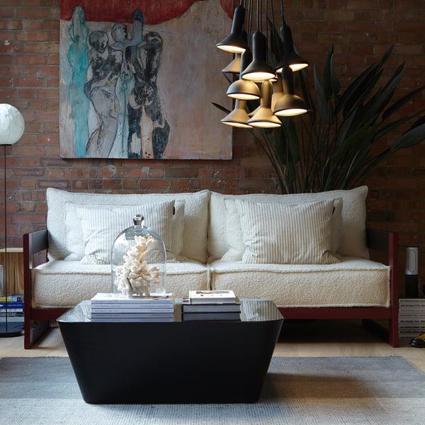 luminária pendente em sala de estar