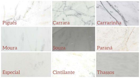 tabela com tipos de mármore
