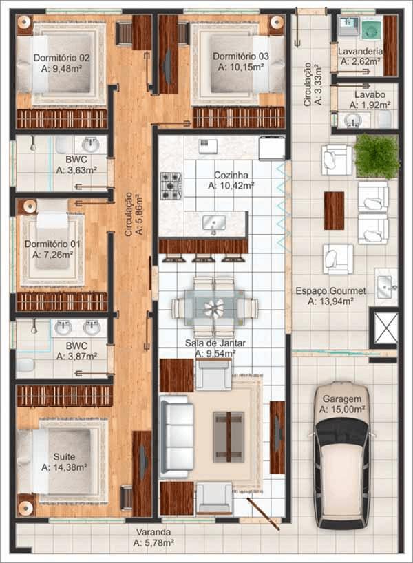 planta de casa com 4 quartos