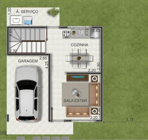 planta de casa dois andares