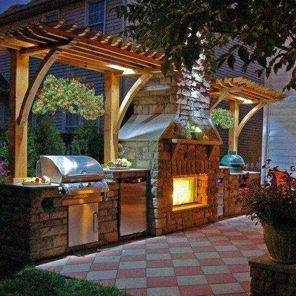 cozinha ao ar livre de pedra