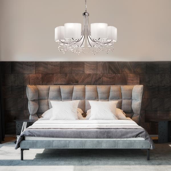 cama de casal com luminária de teto