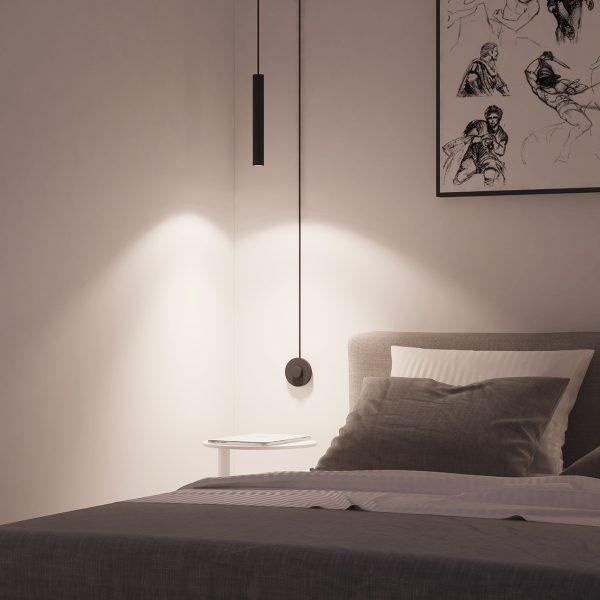 luminária pendente em quarto