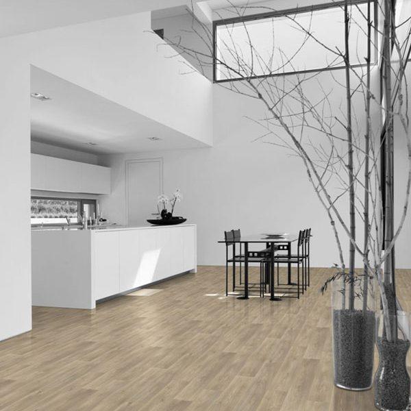 piso vinílico em decoração branca