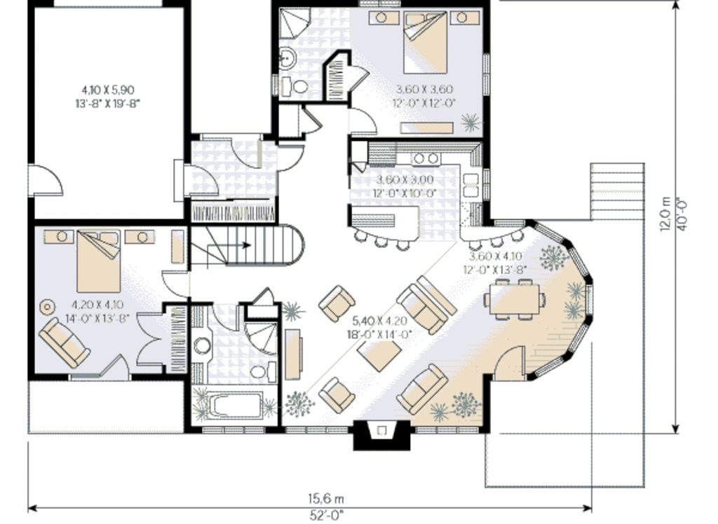 planta de casa de 130m²