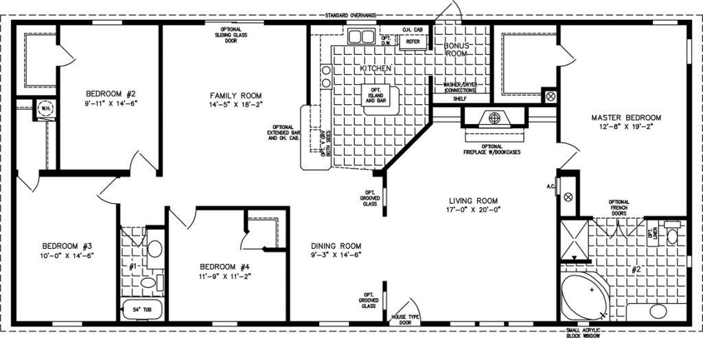 planta de casa térrea de 185m²