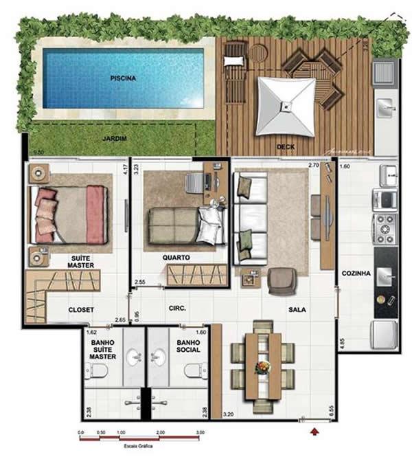 planta de casa com piscina e jardim