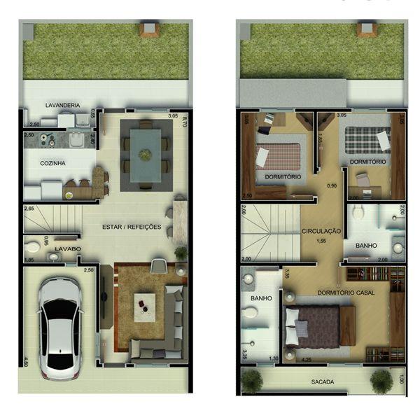 planta de casa de dois andares