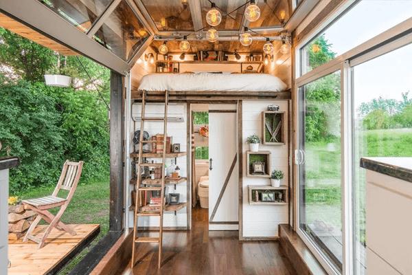 interior casa de madeira