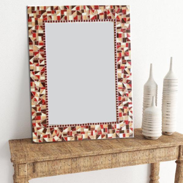 espelho retangular com moldura colorida