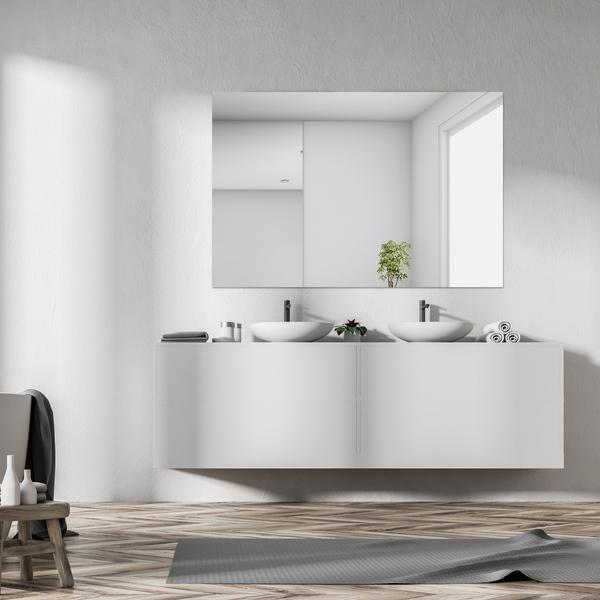 espelho retangular lapidado em banheiro