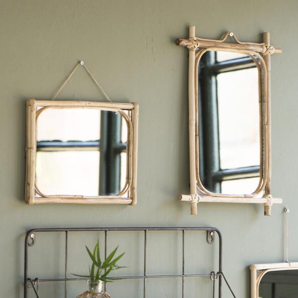 espelho com moldura de bambu