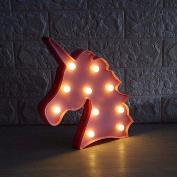 luminária infantil de mesa formato de unicórnio