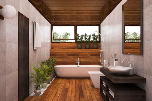 banheiro com madeira para 2020