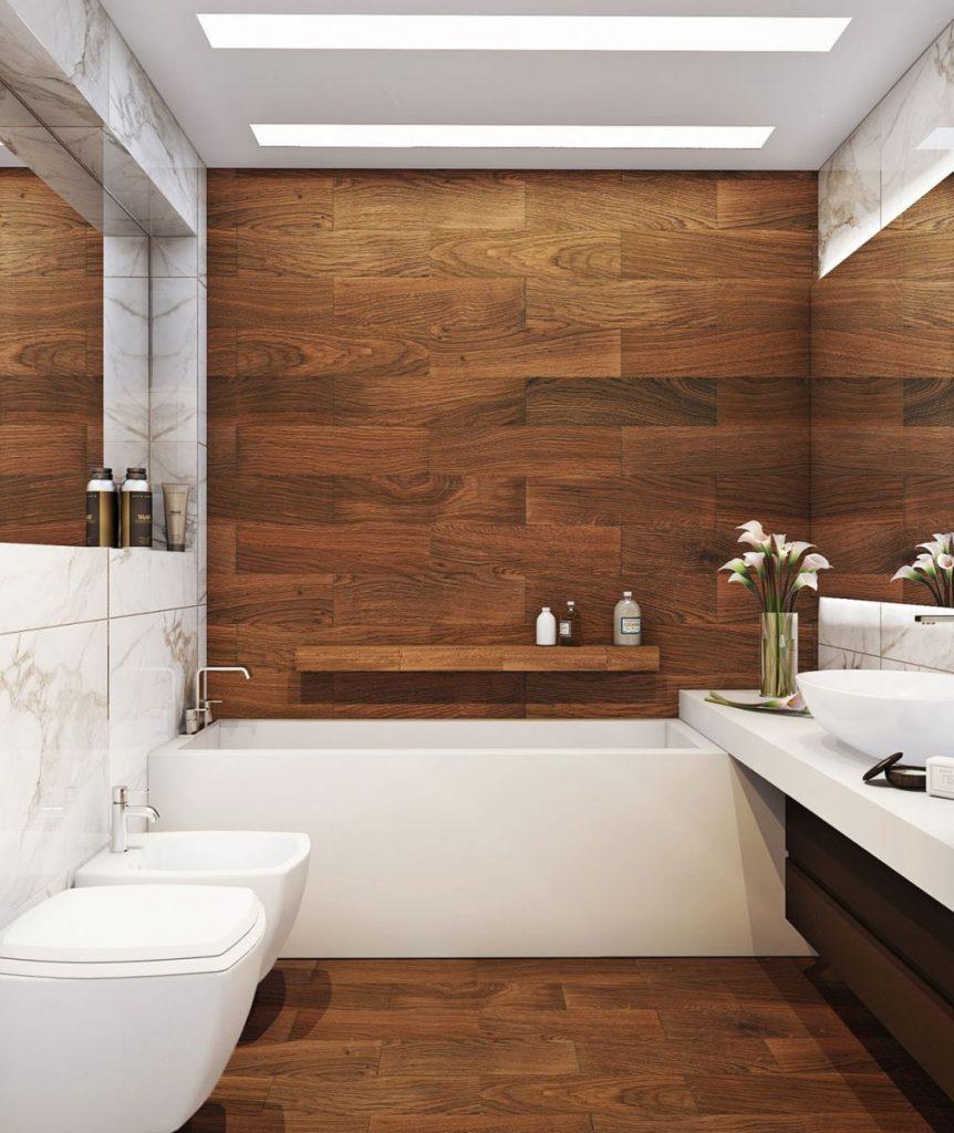 decoração banheiro madeira