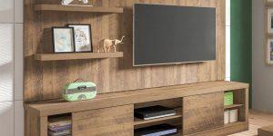 rack com painel de madeira