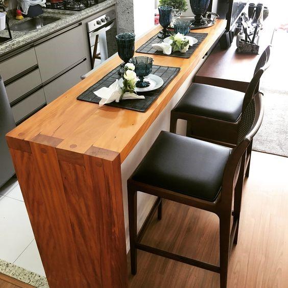 bancada de madeira cozinha moderna