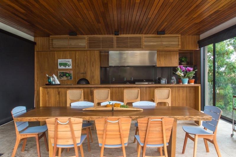 cozinha gourmet bancada de madeira