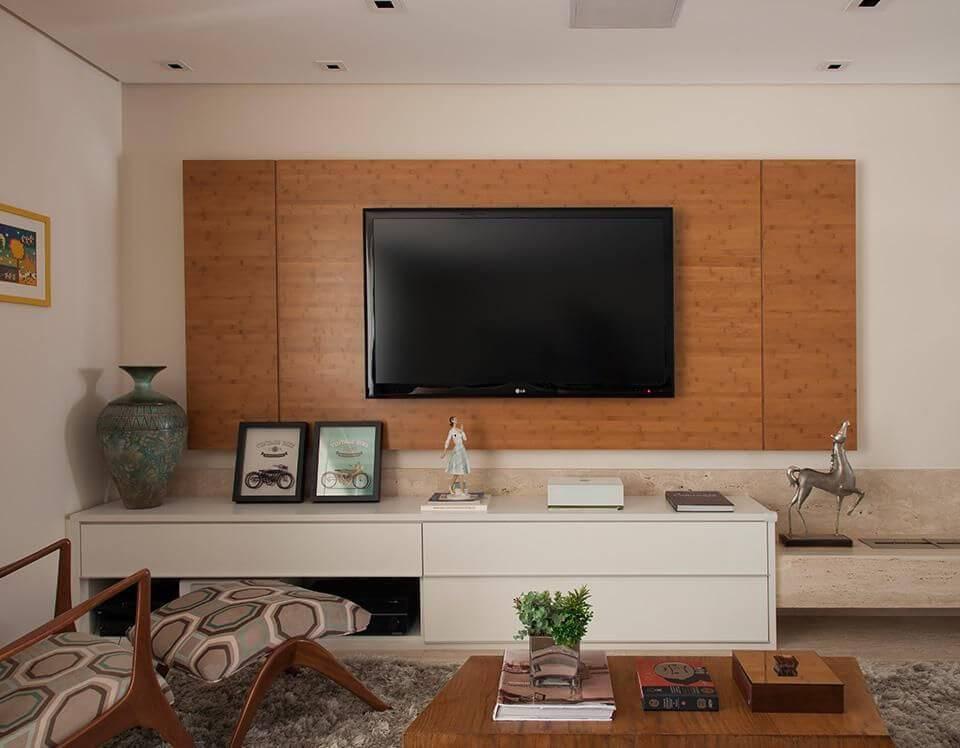 rack com painel em sala de estar