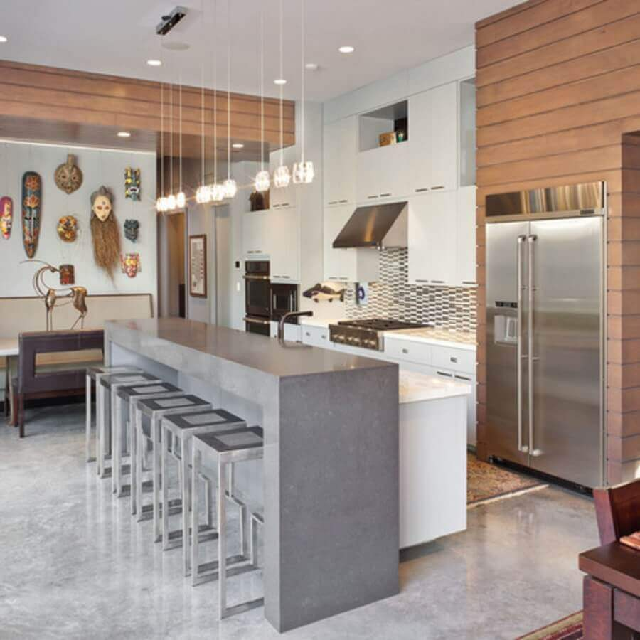 bancada de concreto em cozinha