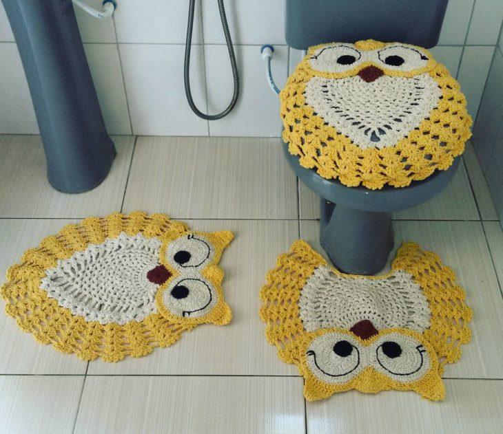 tapete de banheiro de corujas
