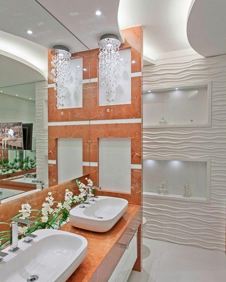 banheiro com cor tendência e revestimento 3D