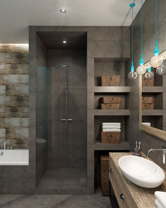 banheiro com revestimento refinado
