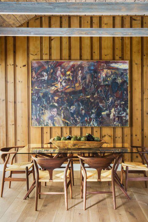 decoração com quadro em sala de jantar rústica