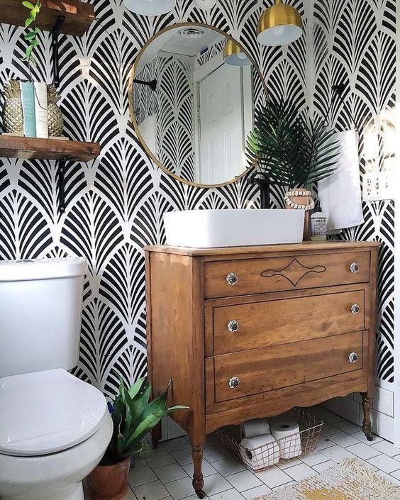 decoração rústica para banheiro