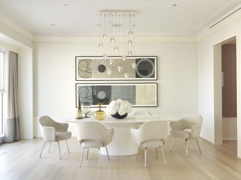 decoração sala de jantar branca