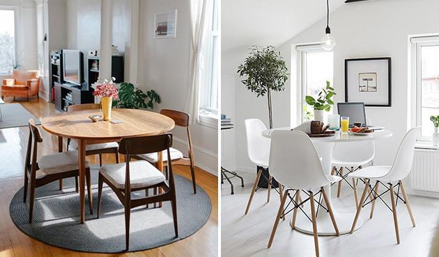 decoração sala de jantar com mesa redonda