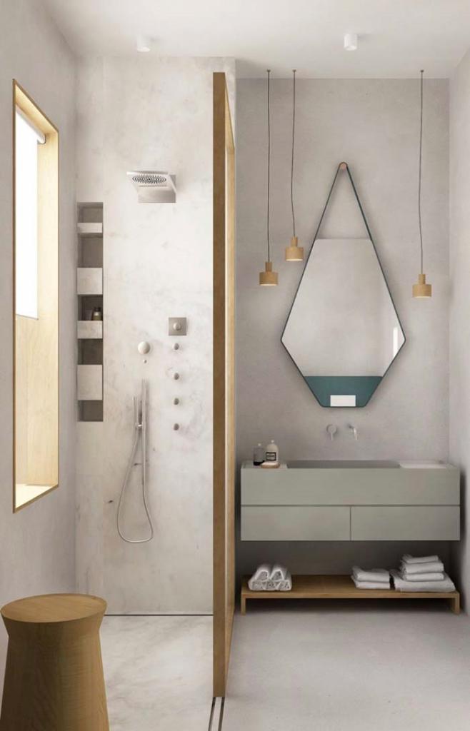 espelho com formato ousado para banheiro