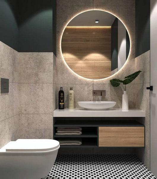 espelho redondo com led em banheiro