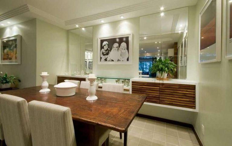 espelhos na decoração de sala de jantar