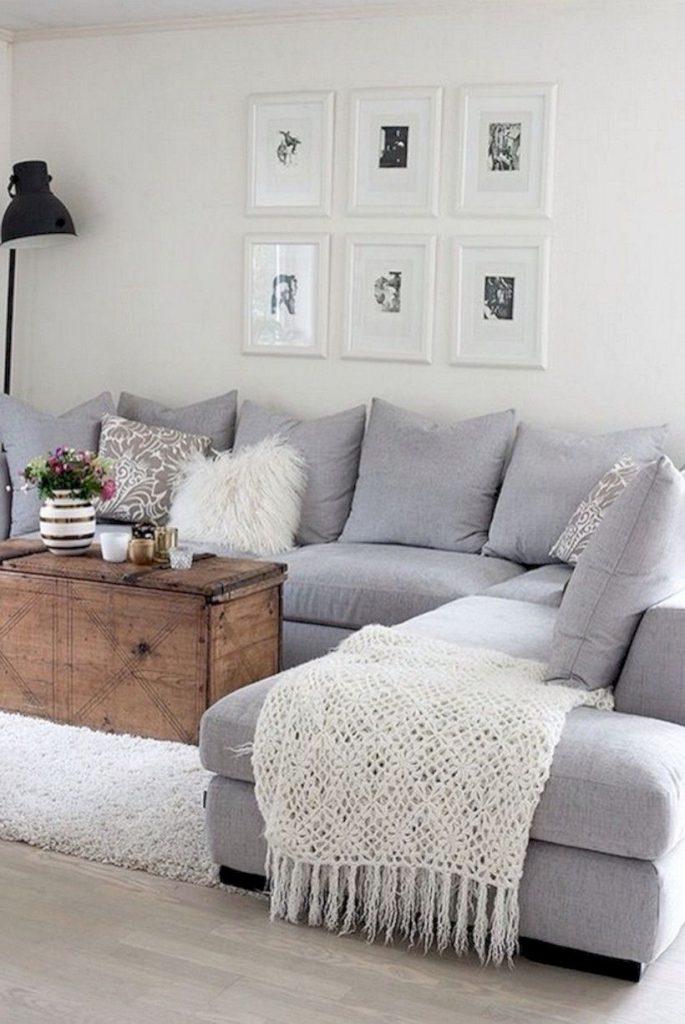 formato L de sofá cinza
