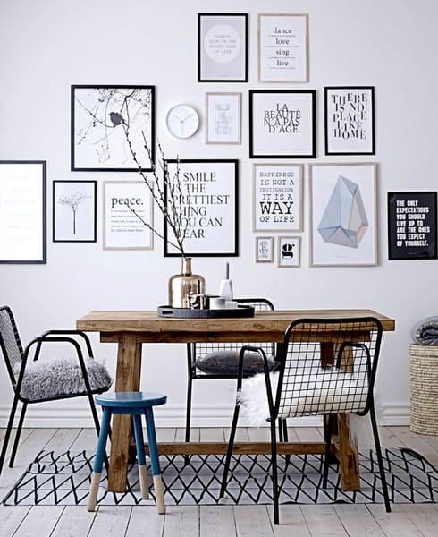 quadros na decoração de sala de jantar