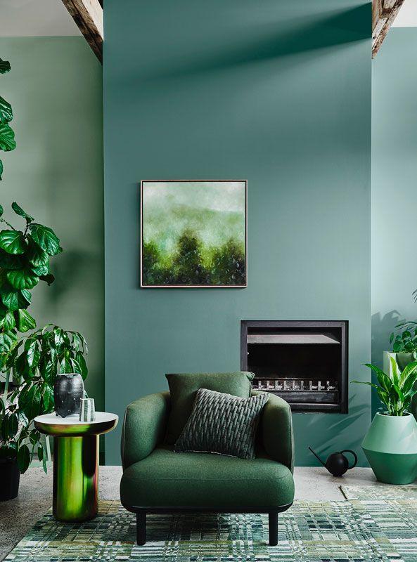 sala com tom de verde