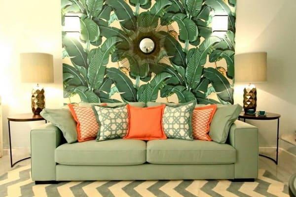 sala de estar com tom verde
