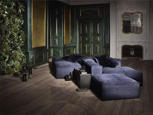 sala de estar com tons de azul e verde