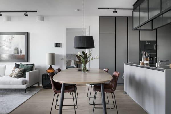 sala de jantar integrada com cozinha e sala de estar